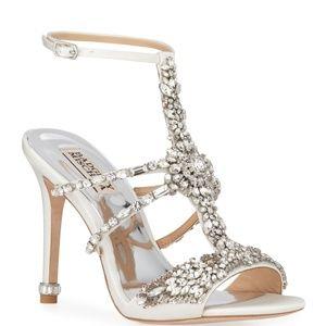 Badgley Mischka White Crystal Embellished Sandals